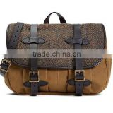Tweed Fabric and Leather canvas Messenger Bag