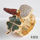 Three color plated jewelry diamond ring model price/ fashion dinner party lucky stone finger ring