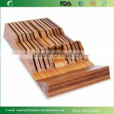 "Bamboo in-Drawer Knife Tray with Handle Rest Wedge 18""x9""x2.5"""