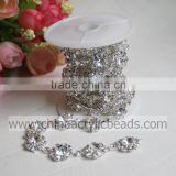 top sale 24 row plastic flower diamond bling mesh ribbon trimming Rhinestone Bling wrap rolls