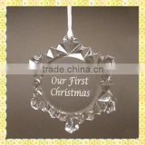 Customized Engraved Glass Snowflake Ornament For Christmas Gifts Decoration