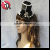 Black red Party Clip On Hat Costume Ball Retro Bird Cage Mesh Bow Rose Ribbon