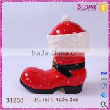 Unique shoe shaped ceramic christmas gift seal for cookie jar