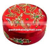 Round Zari Hand Embroidery Jewellery Boxes