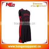 Hongen apparel 2017 Custom Best Latest Basketball Jersey Design 2017 China Manufacturer basketball jersey black and red