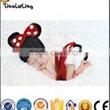 Cartoon Mouse Style Baby Infant Newborn Hand Knitted Crochet Hat Costume Baby Photograph Props Set NPT100