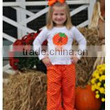 Polka dot Halloween children coutique clothing white Pumpkin shirt Orange ruffle pants set toddler girls fall clothes design
