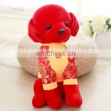 20cm/30cm/40cm/50cm available size Chinese new year stuff dog plush toys with Tang suit