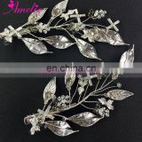 Antique Silver Retro Handmade Side Clip Metal Leaves &Crystal Vintage Hair Clip Bride Hair Decoration Wedding Accessories