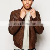New 2014 Men Leather Jacket / Genuine Leather Jacket / Sheepskin Leather Bomber Jacket Dark Brown