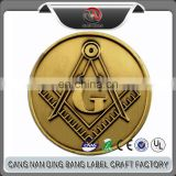 Professional OEM Cheap Custom Brushed Simple Style Angle Square Sign Zinc Alloy Copper Masonic Antique Coin