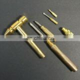 Custom design cnc turning and knurled solid Brass Hammer