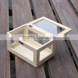 Custom glass and hinged lid pine wood storage boxes                                                                         Quality Choice