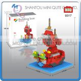 Mini Qute HIQ Anime One piece Thousand Sunny Going Merry pirate ship plastic building cartoon model educational toy NO.9317
