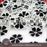 Guangzhou factory supply laser and embroidery black flower pattern pure wholesale chiffon fabric                                                                         Quality Choice