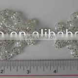 SILVER COLOR HAND MADE GLASS BEADS APPLIQUE PATCH FOR SEW ON CLOTHING OR CLOTHING NOTION ITEMS DECORATION
