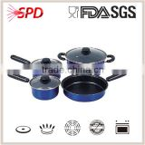 High quality SGS FDA 7 pcs die casting Nonstick metal color coating with Bakelite Handle