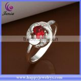 New model design best selling red zircon 925 silver plated diamond ring for sale (CR335)