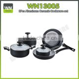 Black color different size aluminium induction cookware wok marble coating cookware set with inner ceramic coating