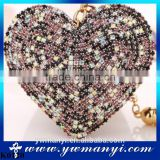 Metal key chain ring full rhinestone heart crystal leather keychain keyring for wholesale K0120