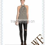 2014 alibaba China OEM service women new summer backless with bowknot ladies Stripe Vest blouses and tops