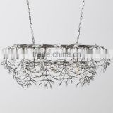 Home Interior Decor Antique Vintage Crystal Chandelier Wrought Iron Pendant Hanging Lamp Light Lighting CZ2552C