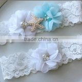 White Bridal Garter Set,Starfish Pearl Blue Chiffon Flower Garter,Sexy Wedding Garter Belt