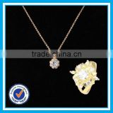 Artificial crystal gold ring necklace 2pcs set necklace fashion jewerly 2015