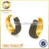 fashion style micro pave zircon pave black zirconia huggie earrings                                                                         Quality Choice