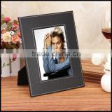 Sheng Rende high quality leather 7 inch rectangle plain European fashion photo black leather photo frame