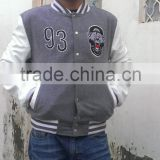 Mens Topman Grey Leather Baseball American Varsity College Slim Coat Jacket Made By Pakistan