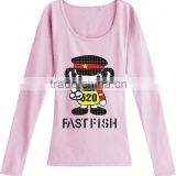 bulk wholesale any color t shirt long sleeve t shirt wholesale cheap fashion wear t-shirts for female