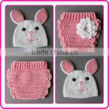 wholesale crochet bunny beanie hat with animal ear and diaper cover with crochet flower outfit set newborn photo props for girl