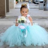 Beautiful White and Blue Tulles Layered Floor Length Princess Wedding Flower Girl Dress XYY-006