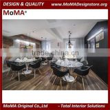 Stylish Black & White Modern Restaurant Furniture, Restaurant Dining Table And Chairs