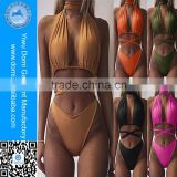 Domi Many Colors Plain swimsuit Cross Criss string High Cut Bikini Swimwear For Women