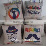 Household sofa decorative cushions beard moustache printed cotton throw pillow in cushion