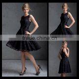2014 Off the shoulder Lace custom-made knee length Black Bridesmaid Dresses bm00035