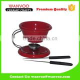 Nonstick Ceramic Cheese Fondue Set With Two Forks
