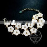 vintage white mother of pearl shell daisy flowers fashion women bracelet jewelry 6490035