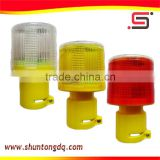 red/yellow solar flashing power led road construction warning strobe light