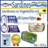 Sardines in Vegetable Oil with Cayenne Peppers,100% High Quality of Sardines Vegetable Oil with Cayenne Peppers, 125 g