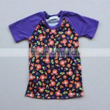 Kids fall 3/4 sleeves raglan pumpkin halloween tshirt purple sleeves halloween mouse shirts