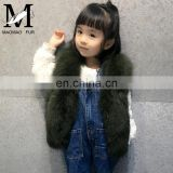 2016 European Style Fancy Children's Clothing Real Fox Fur Sleeveless Coat Baby Fur Vest