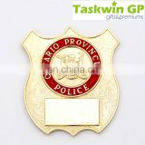 custom name pin gold plating/Cuting out shape metal name badge with enamel/customized security badge