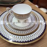 20 pcs bone china dinner set with golden decal portuguese porcelain dinnerware
