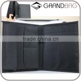 Wholesale High Quality Custom Black Color Genuine Saffiano Leather Office File Bag Document Folder Notebook