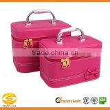 Leather makeup vanity case cosmetic travel box with metal handle