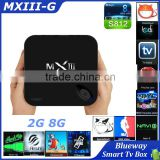 MXIII-G TV Box Android 4.4 1000M LAN Amlogic S812 Quad Core 2G 8G Bluetooth Dual WiFi H.265 Gigabit TV Box Kodi Fully Loaded