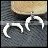 LFD-0054P ~ White Color Bull Bone Druzy Pendant, with Crystal Rhinestone Paved Crescent Moon Horn Pendants Jewelry Finding